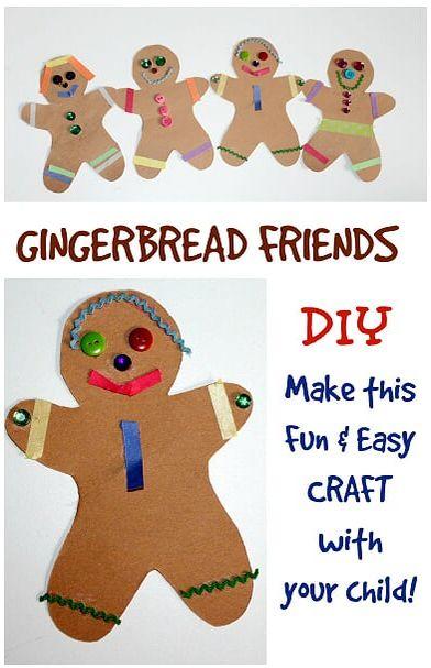 simple Gingerbread Friends Friendship & Uniqueness craft idea for preschool and kindergarten grades. Includes free printable gingerbread template for teachers & parents. FUN kid's creativity craft.