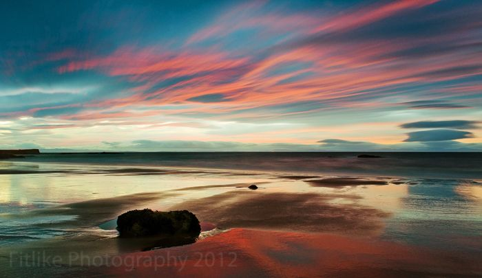 """Red Sky at Night"" by Fitlike Photography #Hopeman #Beach #Sunset #Scotland #Moray #FitlikePhotography #www.fitlikephotography.co.uk #Landscapes"