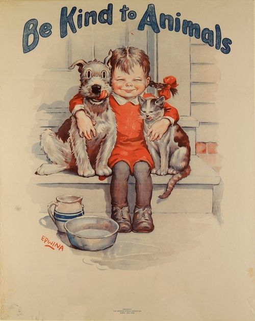 Vintage illustration art reminds you to be kind to  our animal friends...   @broadwayanimal #welovepets