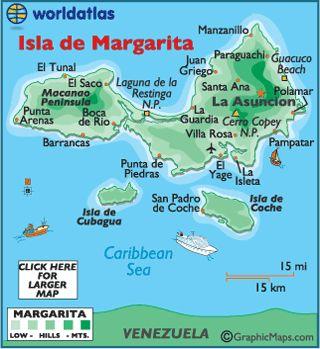 Isla de Margarita (Margarita Island) is a somewhat mountainous island, located about 40 miles north of the Venezuela mainland.