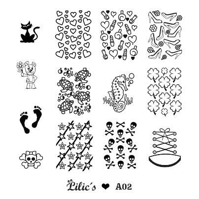 Lilic's stamping plate A02 full nail small cat heart nail polish lipstick shoe bear turttle seahorse clover footprint star skull tennis shoe converse