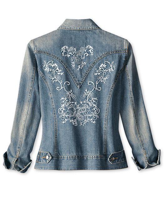 machine embroidery on denim jacket, beautiful!