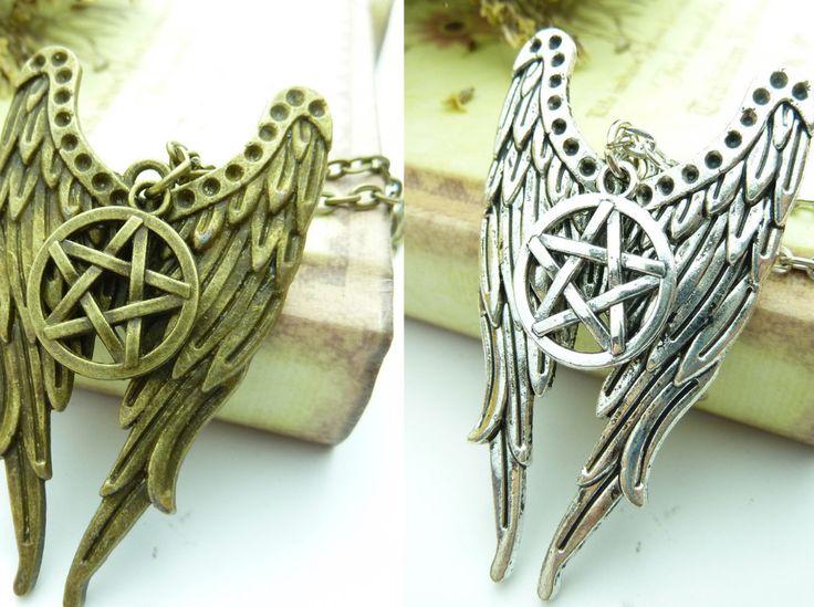 Antique bronze one /silver tone Supernatural Castiel Wings Charm Necklace Pendant necklace ZJ107-ZJ108