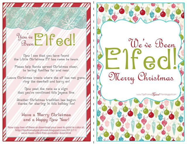 {We've Been Elfed!} Free Printable- Door Signs and Instructions