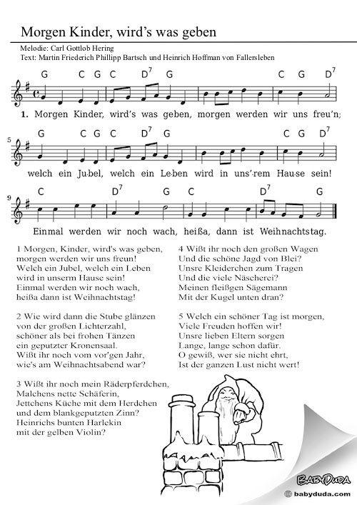 Weihnachtslieder Italienisch Texte.Morgen Kinder Wirds Was Geben Kinderlied Reime Und