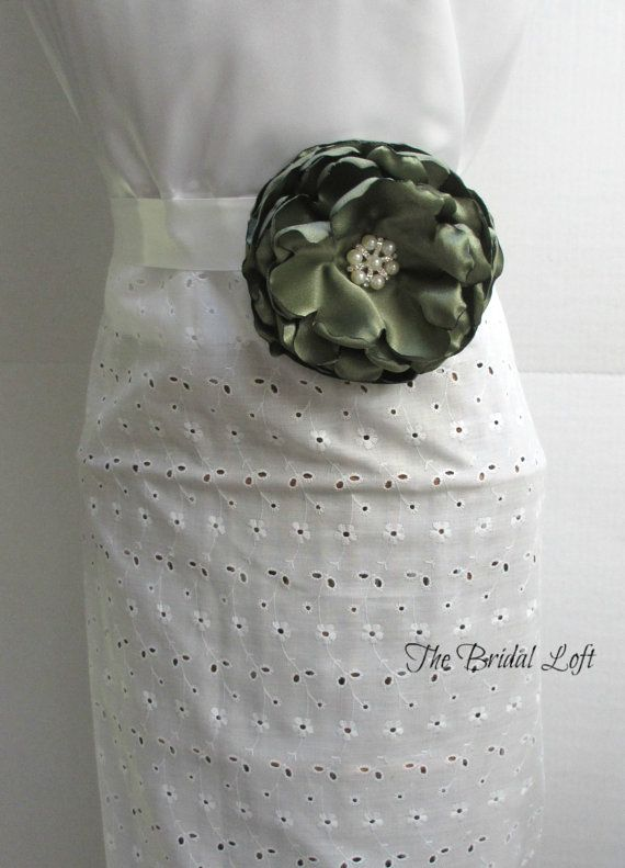 Olive Green Dress Sash, Olive Dress Sash, Olive Flower Satin Bridal Belt, Olive Wedding Accessory, by BridalLoft