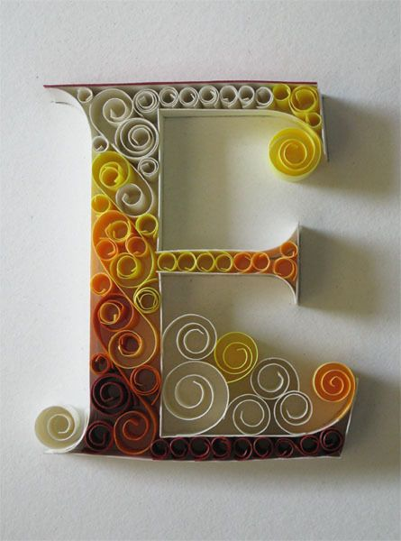 E: Paper Quilling, Paper Letters, Decor Letters, Crafts Gifts, Adonai Karnik, Girls Names, String Art, Typography, Twine Crafts