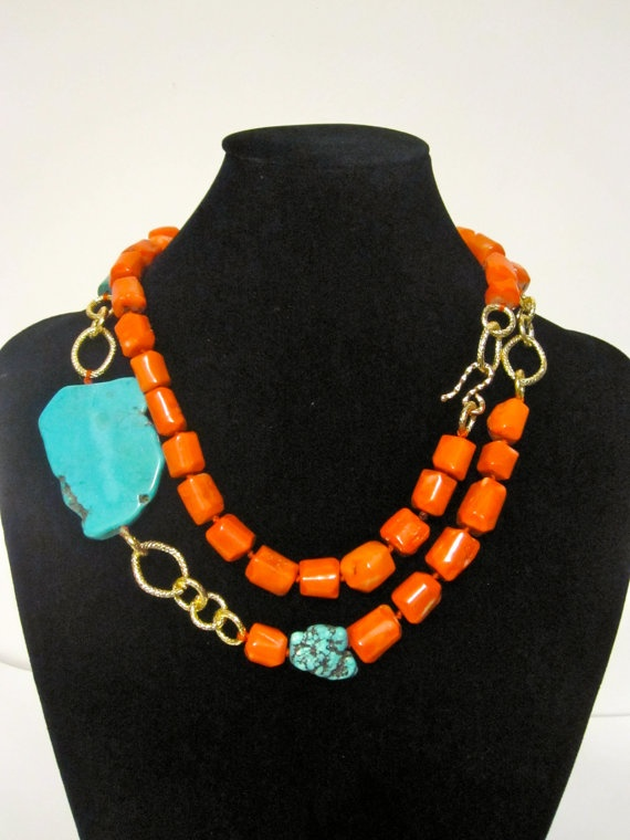 Chunky Turquoise and Coral Layering Necklace by VelaInTheSky, $53.00