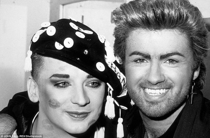 Pictured: Michael - who sold 100 million album across a long career - with fellow eighties star Boy George, in 1987