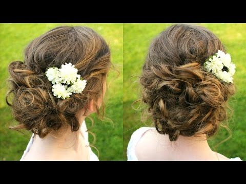 How to : Curly Updo Hair Tutorial | Boho Updo - YouTube