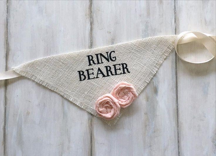 Ring Bearer - Ivory Wedding Dog Bandana with Flowers #bridal-shower-gift #cotton-flowers #dog-collar