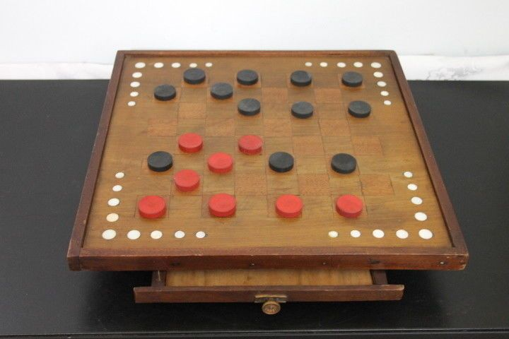 Vintage Wooden Table Top Checkers / Chess Board with Storage Drawer Inlaid Wood #Unbranded