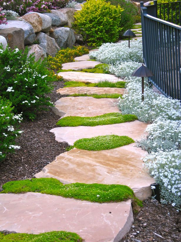 This stone walkway rambles between large boulders and soft perennials. Irish moss between the flagstones provides a rhythm to the walkway.