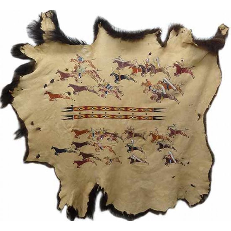 "Native American Painted Buffalo Robe: ""Stealin Horses"" by Michael McLeod"