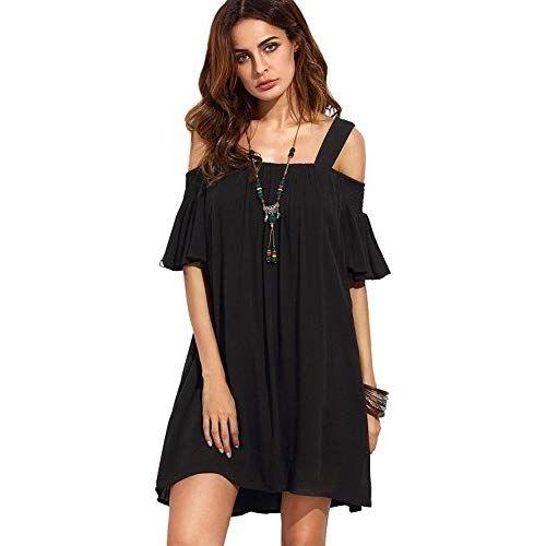 32fa3f80bc0 Milumia Women s Cold Shoulder Ruffle Sleeve Loose Shift Swing Tunic Dress  Black S