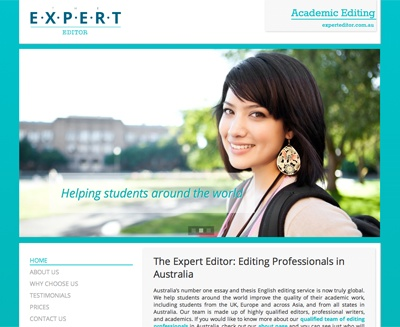 The Expert Editor website by Berry Web Design