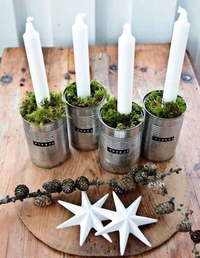 Décoration de table hiver : recyclez des boîtes de conserve en chandelier