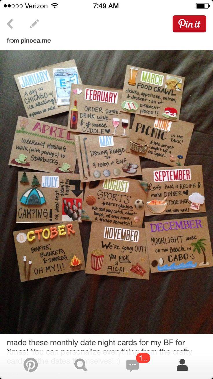 Monthly date night cards
