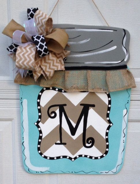 Monogram Burlap Mason Jar Door Sign Hanger by EllieBelliesSigns