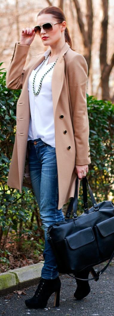 TED BAKER coat, CALVIN KLEIN watch   MANGO sunglasses
