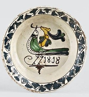 Tányér Beszterce, 1818, mázas cserép