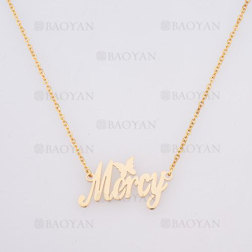 collar con nombre Mercy en acero dorado inoxidable -SSNEG384261