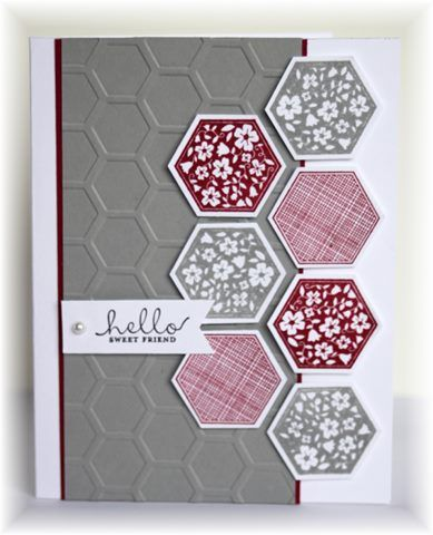 The card - embossing folder is from Cuttlebug. Hexagon stamps/punch is from SU. Colors are raspberry and smoky slate.  Going to tr...
