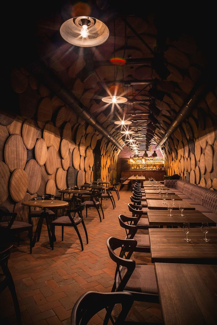 Barrel Bottoms; Brandy Bottles: Shustov Brandy Bar. Restaurant / Bar Design / Interior Design wood