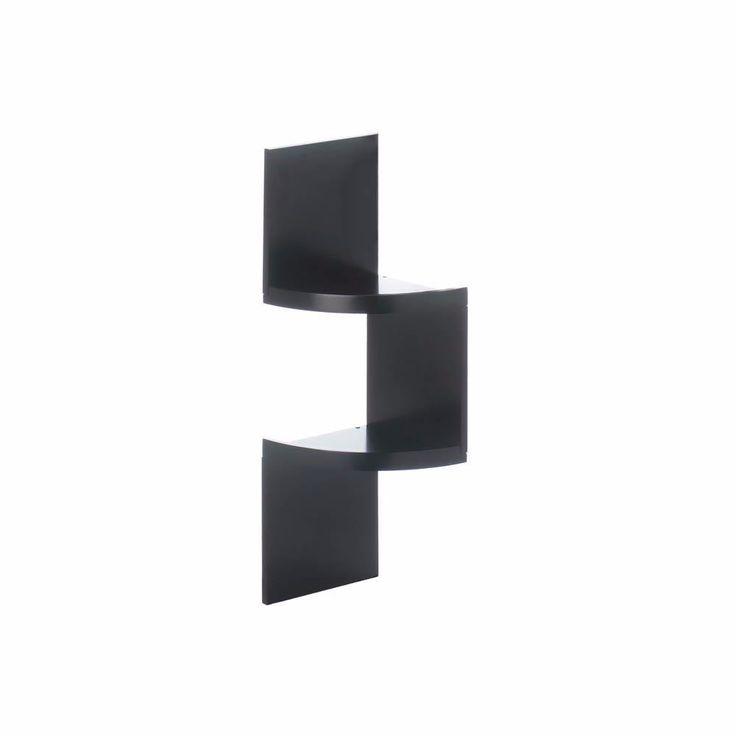 2-Tier Black Corner Shelf