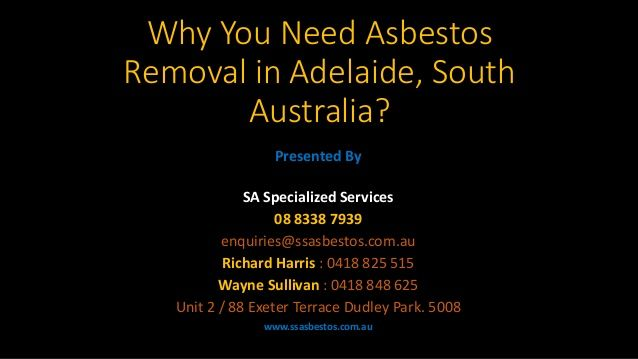 This is all about our asbestos removal services in Adelaide, South Australia. If you want to avail our services then you can visit - www.ssasbestos.com.au/asbestos-removal-adelaide-south-australia