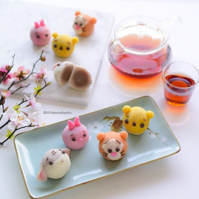Arrived in the Thailand this morning for workshop but first sharing these Winnie the Pooh snowskin mooncakes I made over the weekend.  Used carrot, pumpkin, raspberry and sweet potato powder to achieve the pretty colors. Just a little extra pink for piglet's ears.  Filled with yam lotus paste, these little Winnie the Pooh mooncakes will surely delight.  Happy mid autumn everyone!  先週末に月餅を作りました。くまのプーさんと友達です❣️ 月餅の中は餡です。野菜のパウダーを使って、いろいろな色になります。  お菓子を食べたり、お茶を飲んたり、最高ね〜…