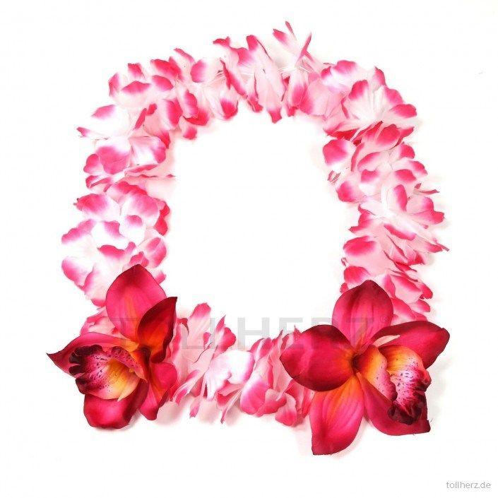 Hawaiikette, Blumenkette in pink-weiß mit XXL-Blüten