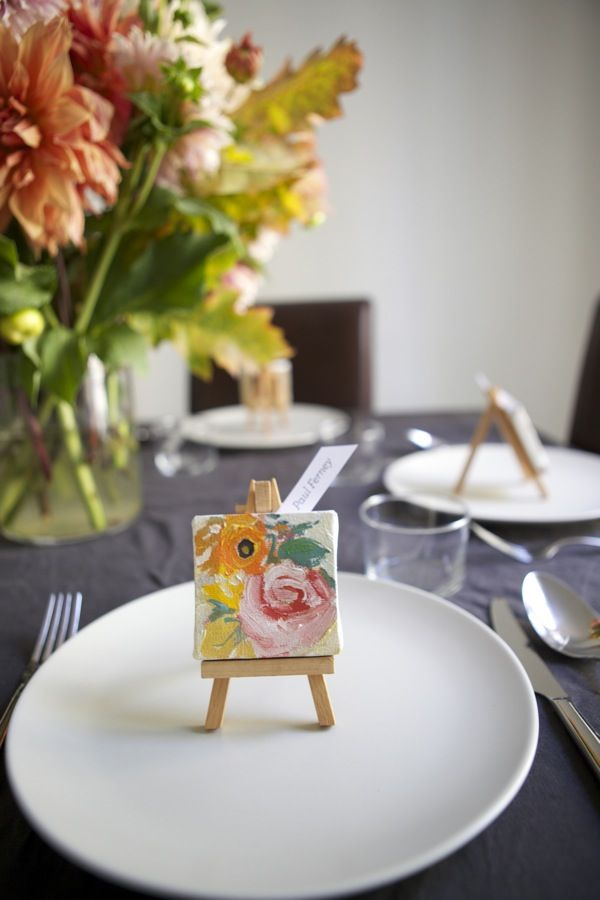 Mini easel place settings. I LOVE this as a food label stand as well. (painted white)