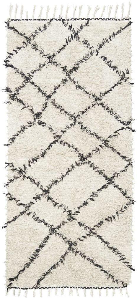House Doctor Vloerkleed Ribas wit en zwart 100% katoen 90x180cm - Design meubelen & verlichting | Altijd SALE | Korting vanaf 2 stuks | Zuiver