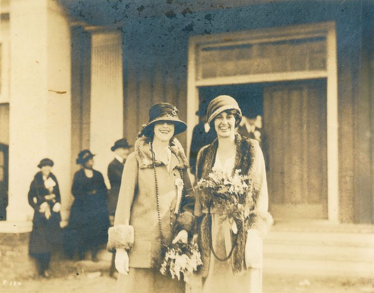 """Mrs. Vanderbilt and Cornelia at the State Fair together in 1921, with fur trim and the long beads that you see so often on Downton Abbey. Pin your """"1900s Style"""" to enter to win: biltmore.com/1900style"""
