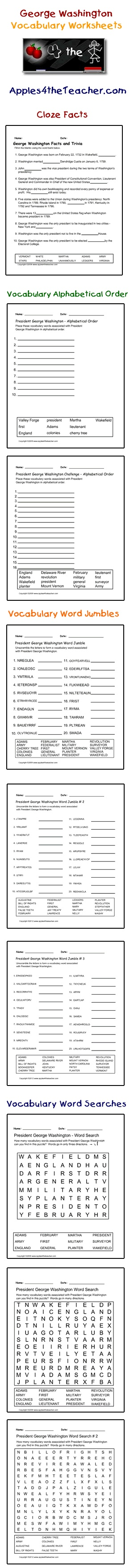 worksheet George Washington Worksheets best 25 george washington kids ideas on pinterest presidents president interactive vocabulary words cloze facts activity page alphabetical order worksheets