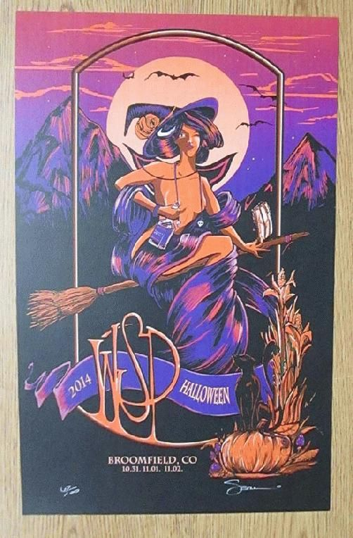 Original concert poster for Widespread Panic at The First Bank Center in Broomfield, CO for Halloween in 2014. 12 x 19 inches on card stock. Signed and numbered out of 100 by artist Mark Serlo.