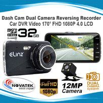 "Dash Cam Dual Camera Reversing Recorder Car DVR Video 170° FHD 1080P 4"" LCD 32GB"