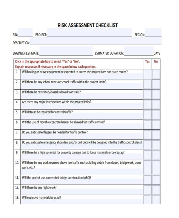 11 assessment checklist templates