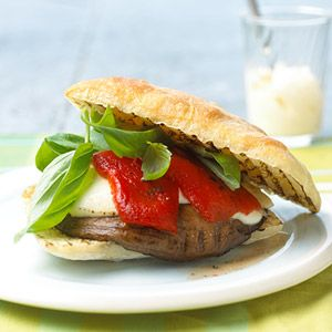 ... to work: Grilled Portabello and Goat Cheese Sandwich. #fitnessmagazine