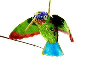 VINTAGE: Chinese Brass Cloisonné Floral Hummingbird Ornament - Bird Figurine - Enameled Ornament - Christmas Bell - SKU Tub-407-00010240