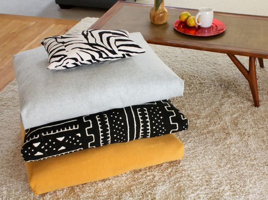 "How To Make ""Fold, Stitch & Stuff"" Floor Cushions Home Hacks. Apartment Therapy. Floor cushions are great for everyone, especially for people living in smaller spaces with limited seating. These could make great pet beds as well! I'm pretty sure these would be >$20 to make...especially if you're a fabric hound like me and have a lot laying around."