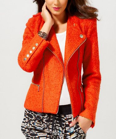 Orange Vibrant Zip-Up Wool-Blend Jacket - Women #zulily #zulilyfinds