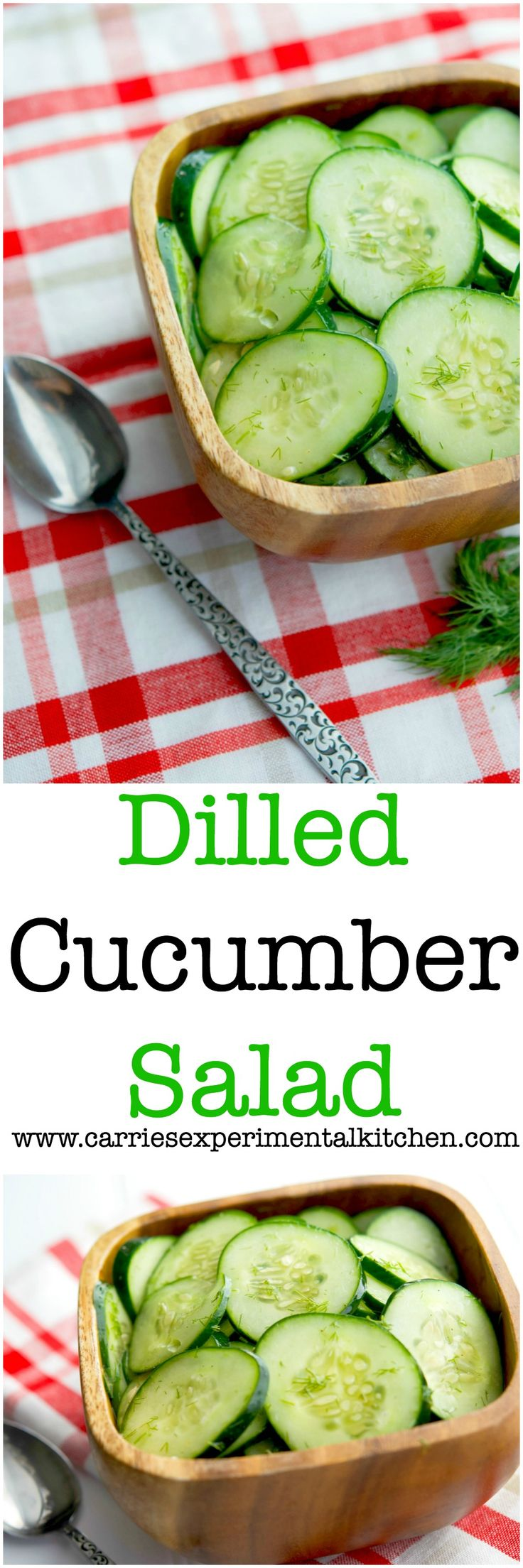 Dilled Cucumber Salad made with fresh garden cucumbers, dill, vinegar ...