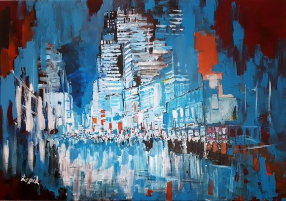 N63 City view Large colourful acrylic on Canvas 100x70 cm
