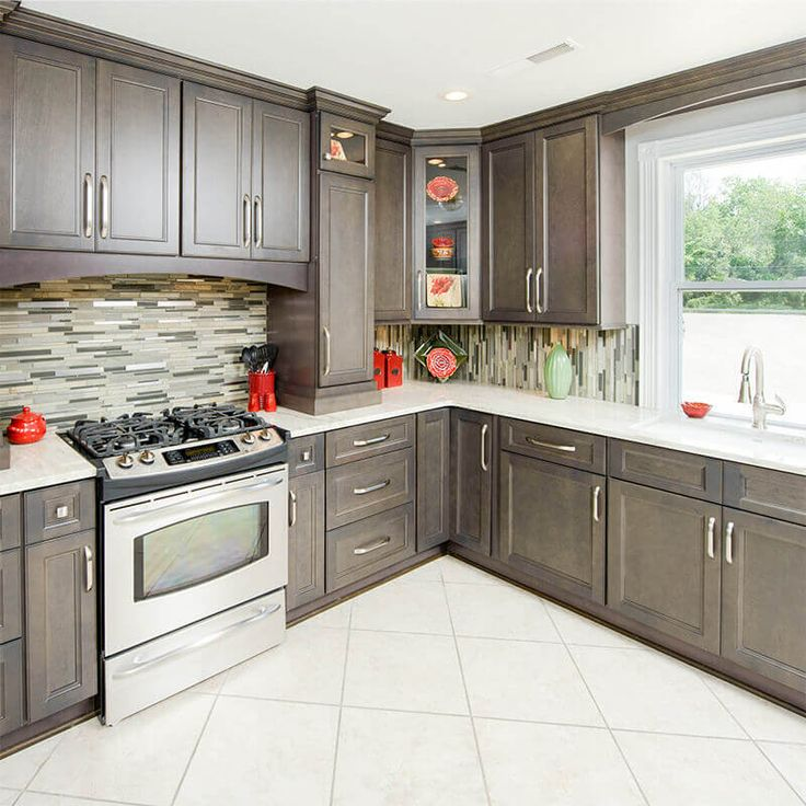 10x10 RTA Grey Kitchen cabinets - Driftwood Grey Cabinets ...