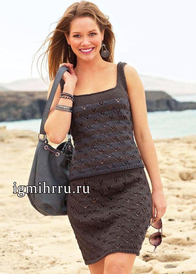 Модная классика: летний серо-коричневый топ и юбка. Вязание спицами http://ya-masterica.ru/post364123866/