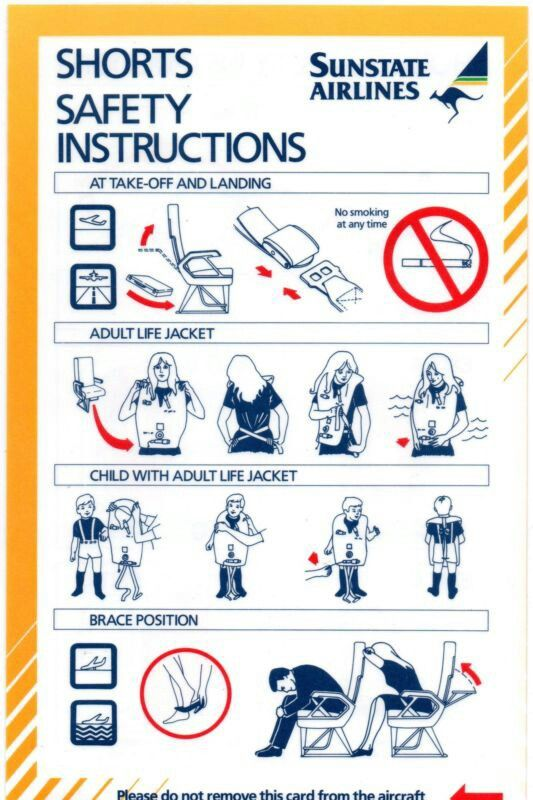 SUNSTATE AIRLINES/AUSTRALIAN AIRLINES SHORTS AIRCRAFT SAFETY CARD