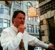 My brother Chris Gowing outside our famous bluetstone pub Gowings Grace Darling, Collingwood 1990-1998