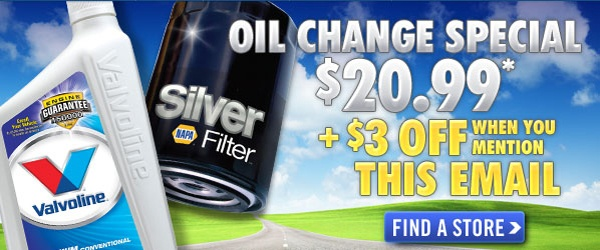 GET THE VALVOLINE OIL CHANGE SPECIAL FOR JUST $20.99 + $3 OFF WHEN YOU MENTION THIS EMAIL